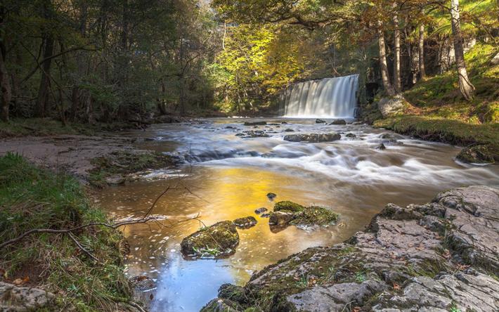 Lataa kuva Vesiputous, river, aamulla, sunrise, syksy, Wales