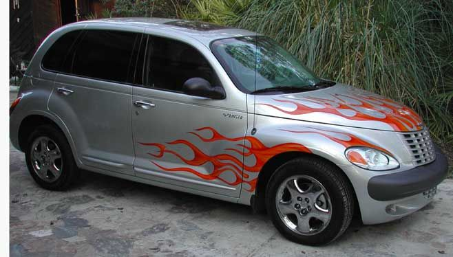 Pt Cruiser Hood Graphics Candy Tangerine Over Shades Of Yellow