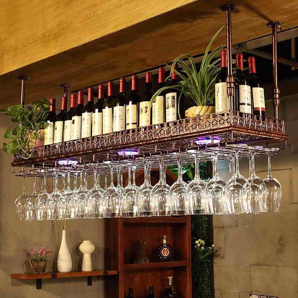 Qi Peng Racks Para Vinos Estilo Simple Colgante De Hierro Estante De Vidrio Para V Estantes De Vidrio Estante De Copas De Vino Estantería Para Copas De Vino