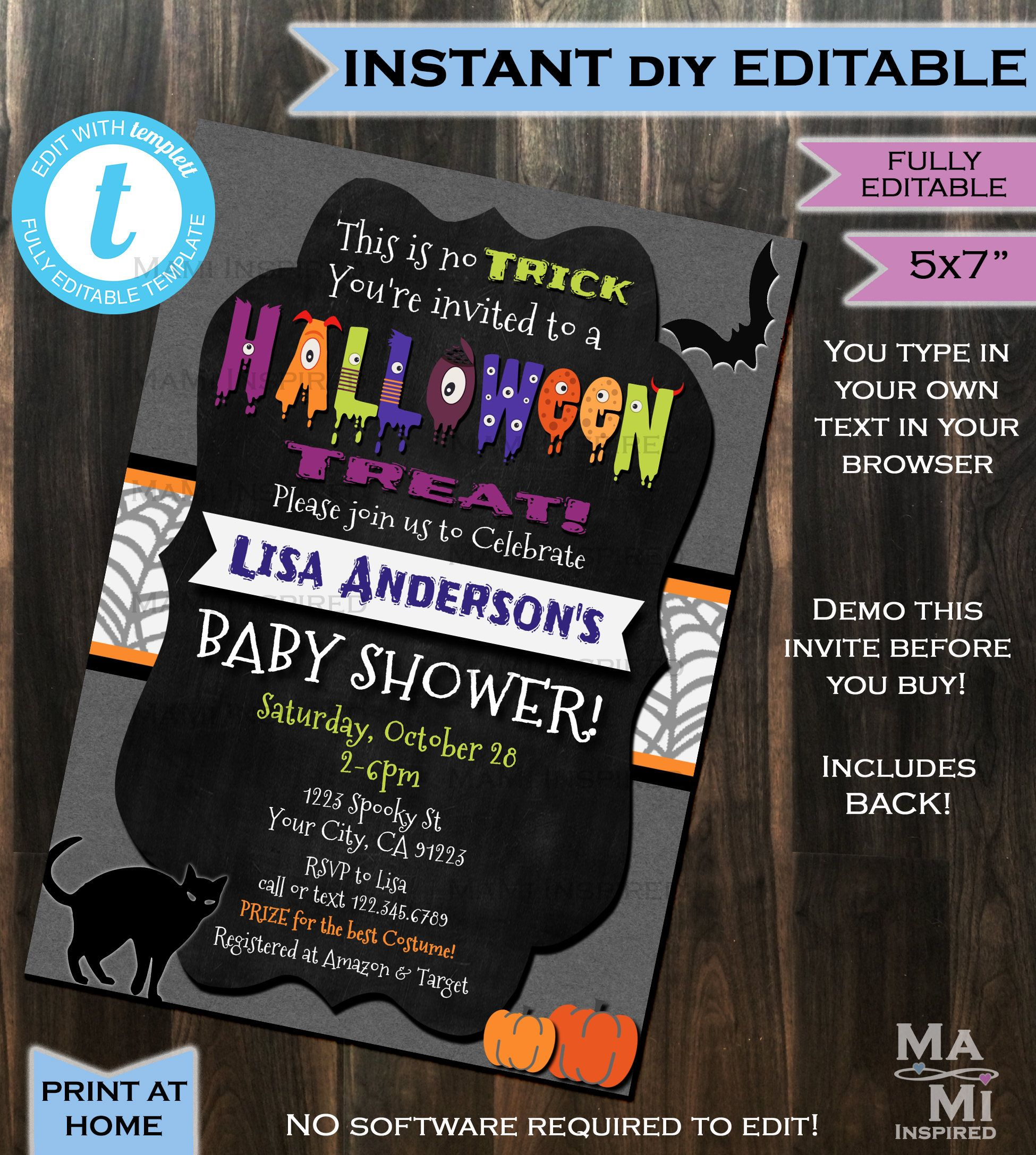 Halloween Baby Shower Invitation Baby Sprinkle Invite Costume