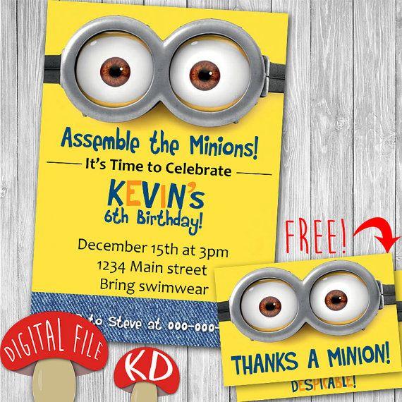 Minions Invitation Card Download Print Birthday Party invite