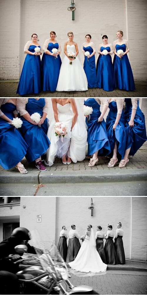 The bridesmaids wore blue at this glam downtown Seattle wedding - photos by Barbie Hull via JunebugWeddings.com