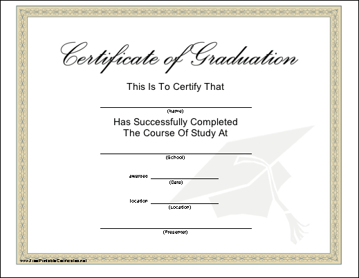 A diploma recognizing completion of a course of study the tan printable certificates of completion free certificate template free certificate template printable certificates of completion certificate templates yelopaper Choice Image