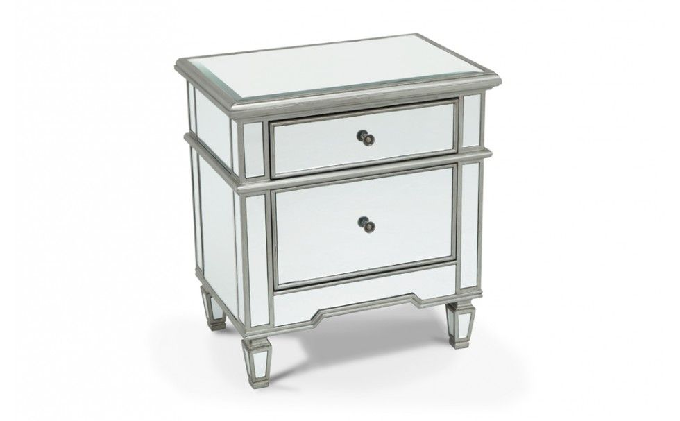 mirrored 2 drawer side table nightstands bedroom bob 39 s discount furniture bob 39 s discount. Black Bedroom Furniture Sets. Home Design Ideas