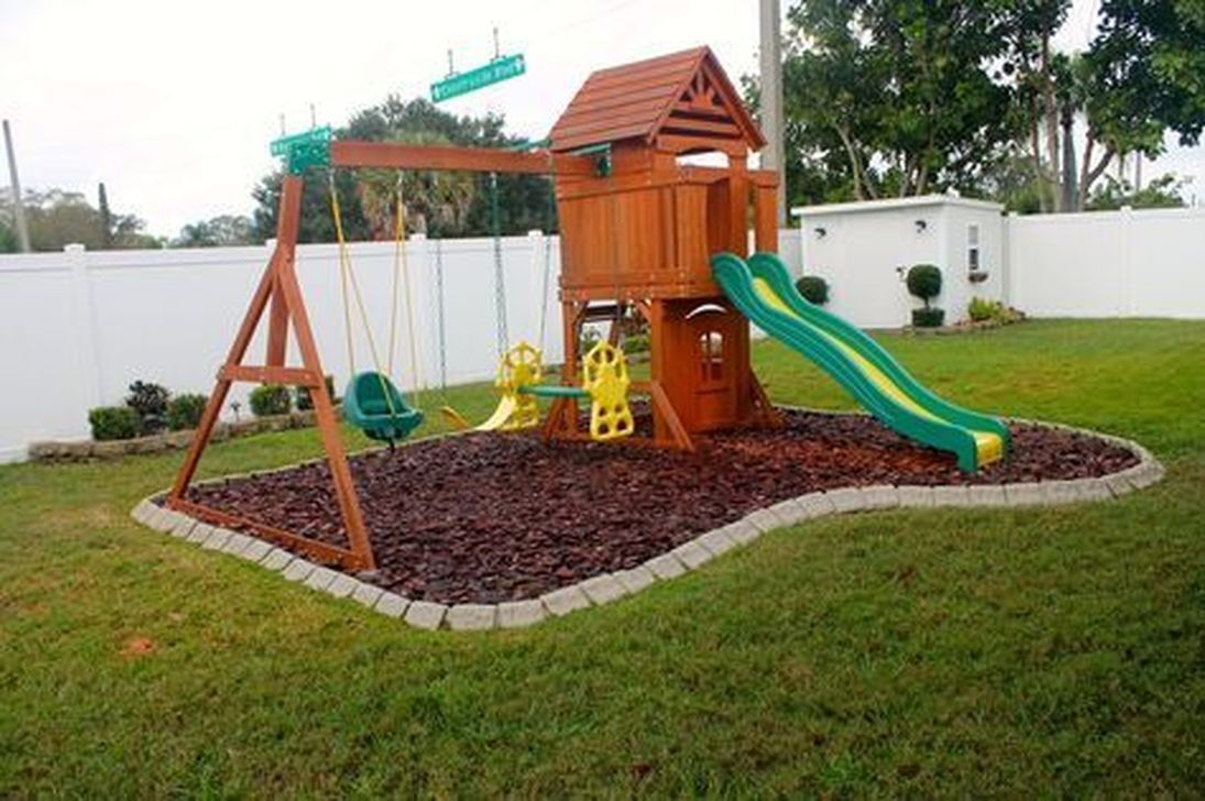 30 Awesome Frontyard Garden Design Ideas For Kids Playground Playground In 2020 Play Area Backyard Playground Backyard Landscaping Backyard Playground