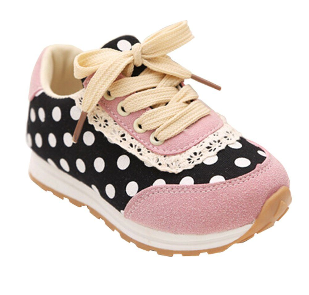 Femizee Girls's Lace Design Sweet Casual Sneakers Shoes Black Dot 10 M US Toddler