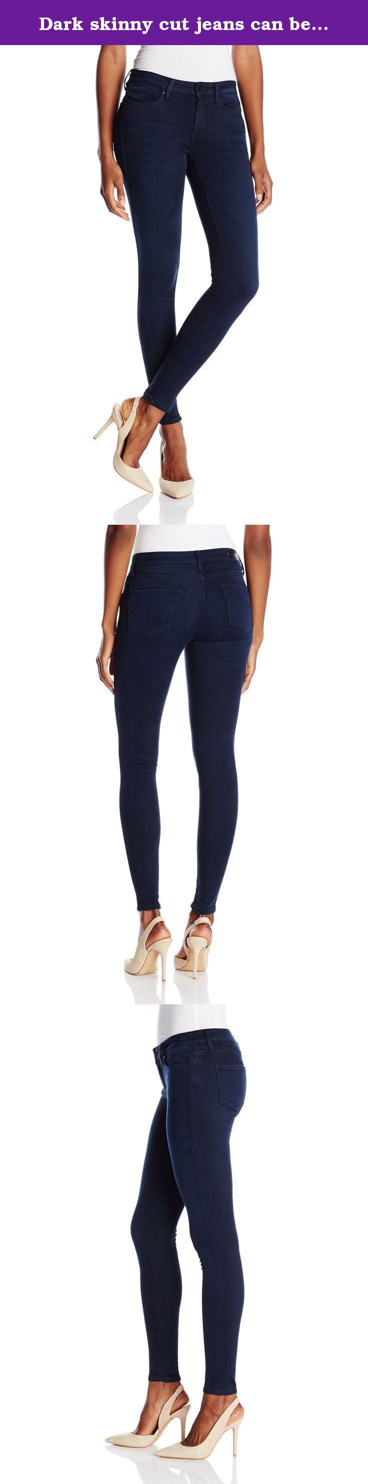 Dark skinny cut jeans can be instantly flattering. Knit denim.