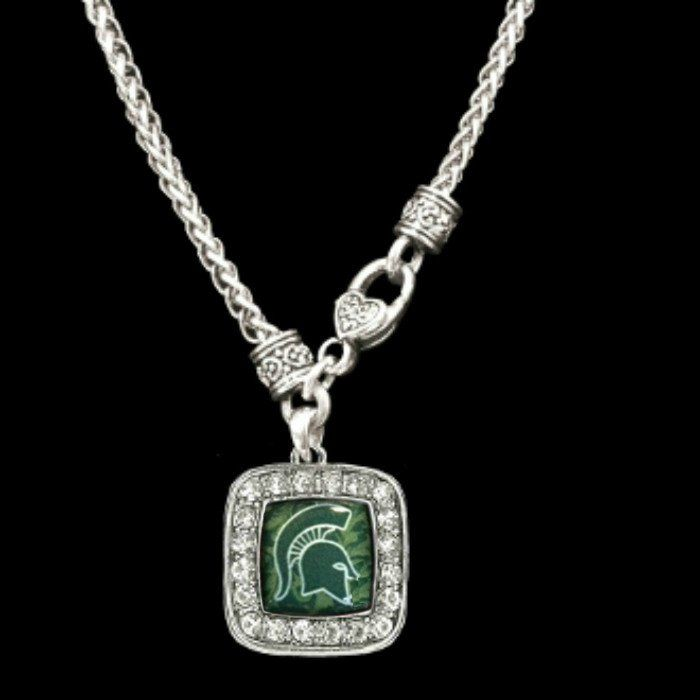 NEW Gorgeous Silver Spartan Necklace with a Square Logo Surrounded ...