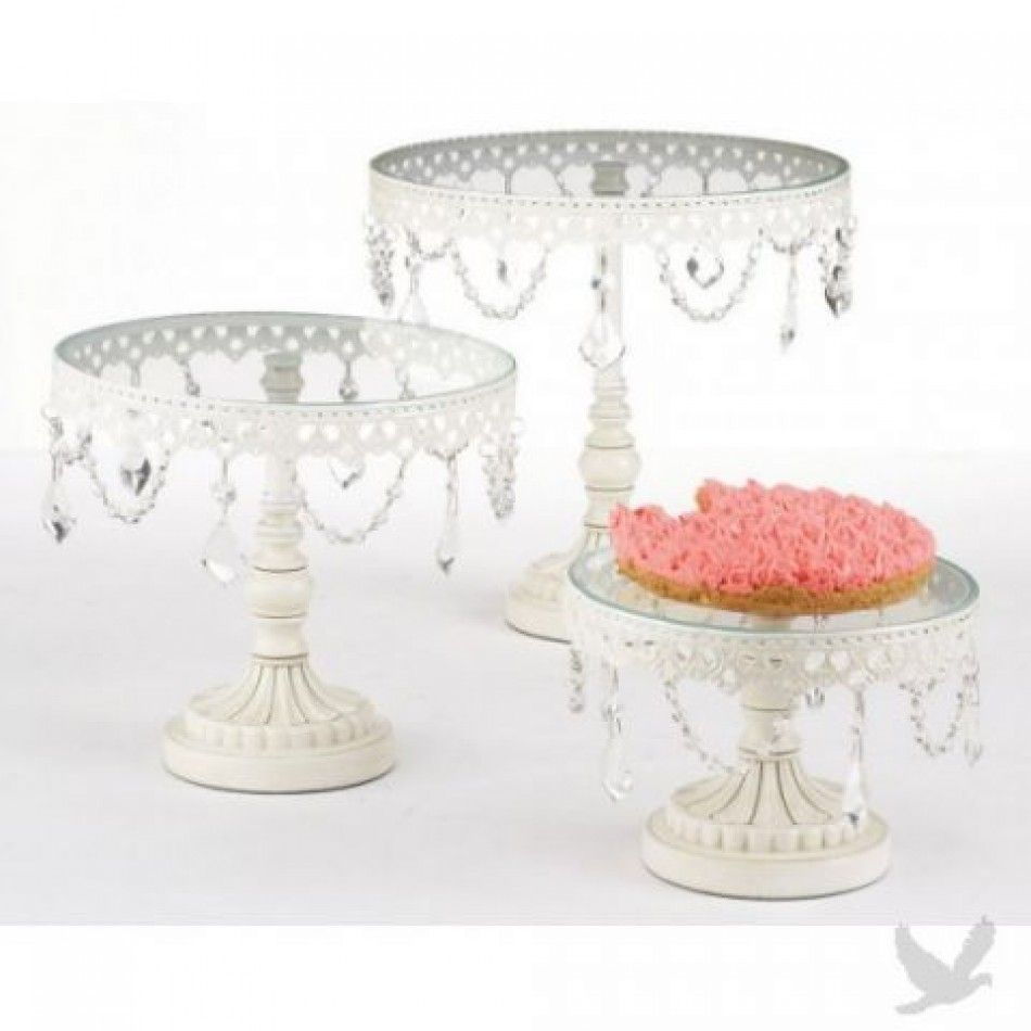 Good Jeweled White Round Cake Stand Set [MW90983 Crystal Cake Stand Set] :  Wholesale Wedding Photo Gallery