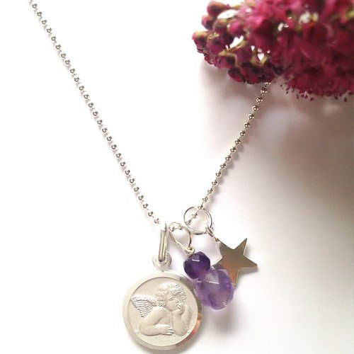 Angel Necklace-Guardian Angel Necklace-Angel Jewelry-Sterling Silver Angel-Amethyst Gemstone-Tiny Silver Star-Gifts for Her: Mom,Sister,Wife  $27.50