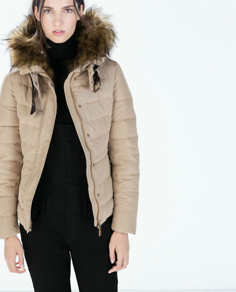 ZARA KHAKI SHORT ANORAK PUFFER COAT//JACKET WITH FLEECE COLLAR BNWT SIZE  L
