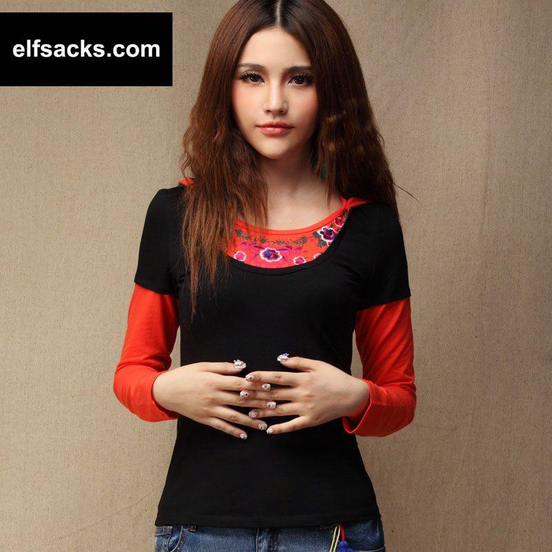 Womens Round Collar Long Sleeve Tshirt Black