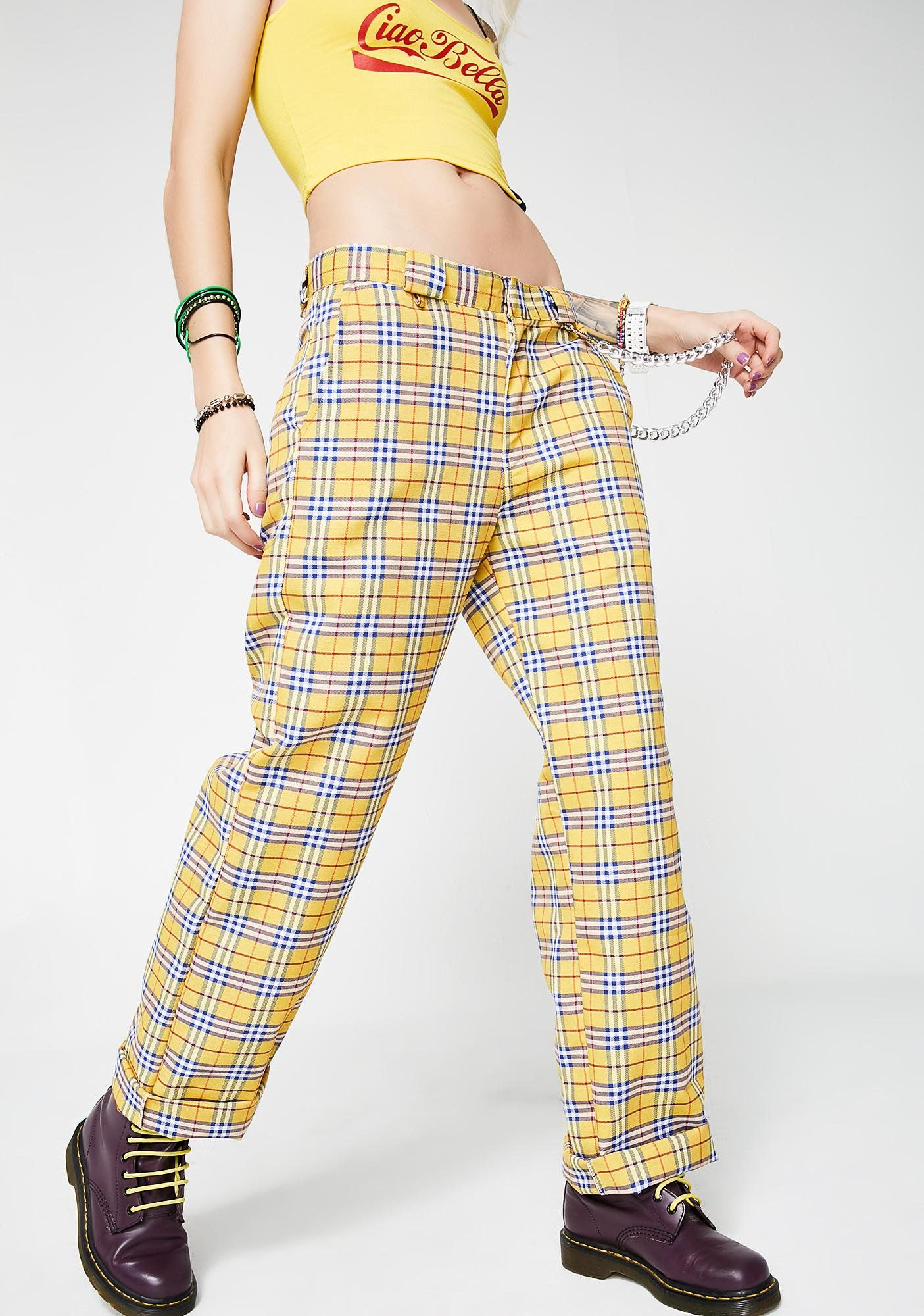 276cb3ea24b17b O Mighty Clueless Yellow Pants cuz you givin  em  AS IF vibez. Do whatever  with these pants that has a yellow tartan print all ova