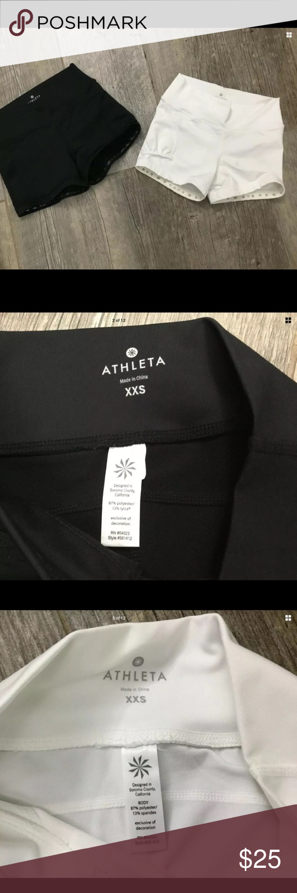 """Athleta 2 Boy Shorts Cheer Workout Running XXS Athleta Lot Of 2 Shorts White Black Boy Shorts Cheer Workout Running Size XXS  In excellent like new condition  Made of 87% Polyester 13% Spandex  Measures while lying flat approximately  Waist 22-26""""  Rise 6.5""""  Inseam 3""""   Features  Hidden inside waistband pocket  Wide waistband  Stay put rubberized band around leg openings Athleta Shorts #cheerworkouts Athleta 2 Boy Shorts Cheer Workout Running XXS Athleta Lot Of 2 Shorts White Black Boy Sh #cheerworkouts"""