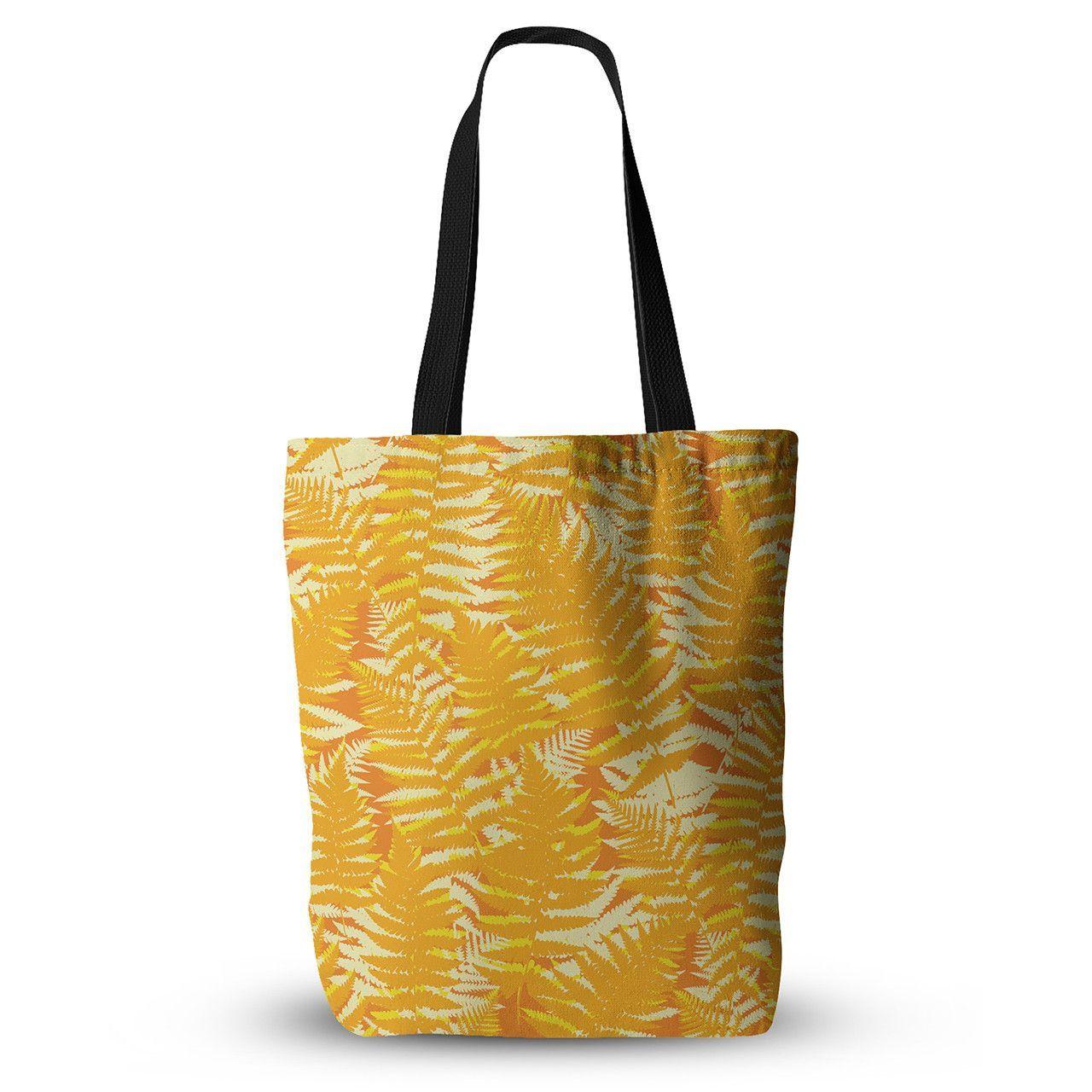 "Jacqueline Milton ""Fun Fern - Citrus"" Orange Gold Everything Tote Bag"