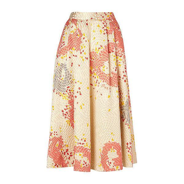 Gardo Midi Skater Skirt (3.716.985 IDR) ❤ liked on Polyvore featuring skirts, beige midi skirt, silk midi skirt, flared skater skirt, midi skirt and floral skater skirt