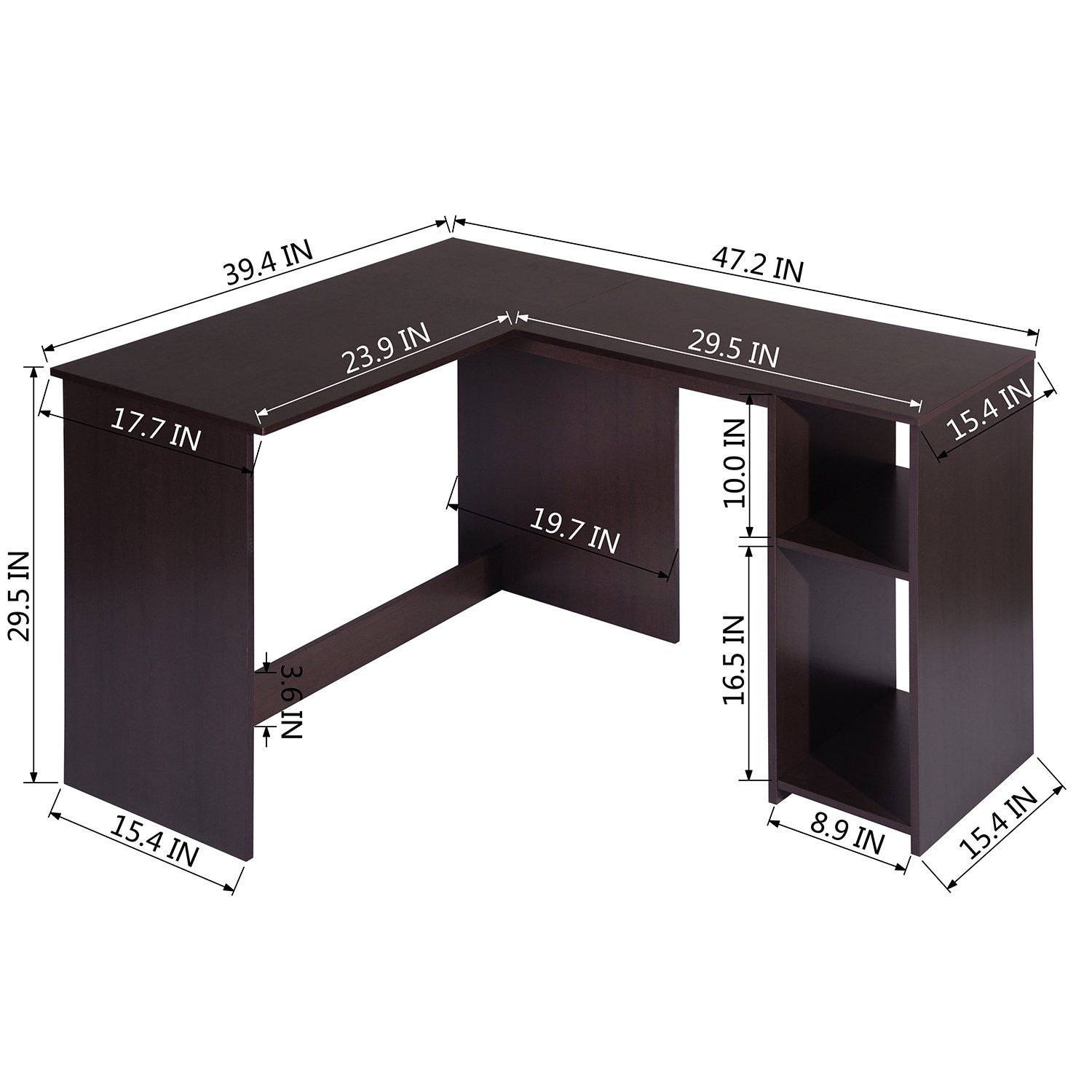 Photo of L-shaped desk in dark wood effect with integrated shelves – BABETTE