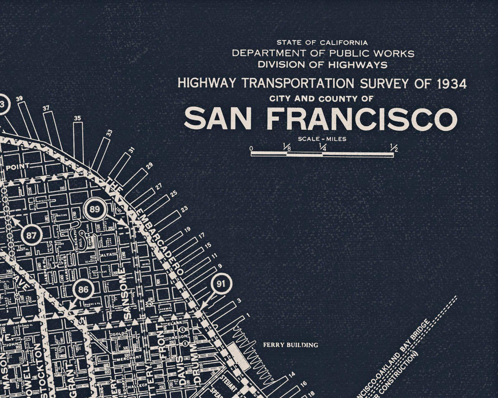 San Francisco Map, Fine Art Prints and Canvas Wraps, Vintage Map ...