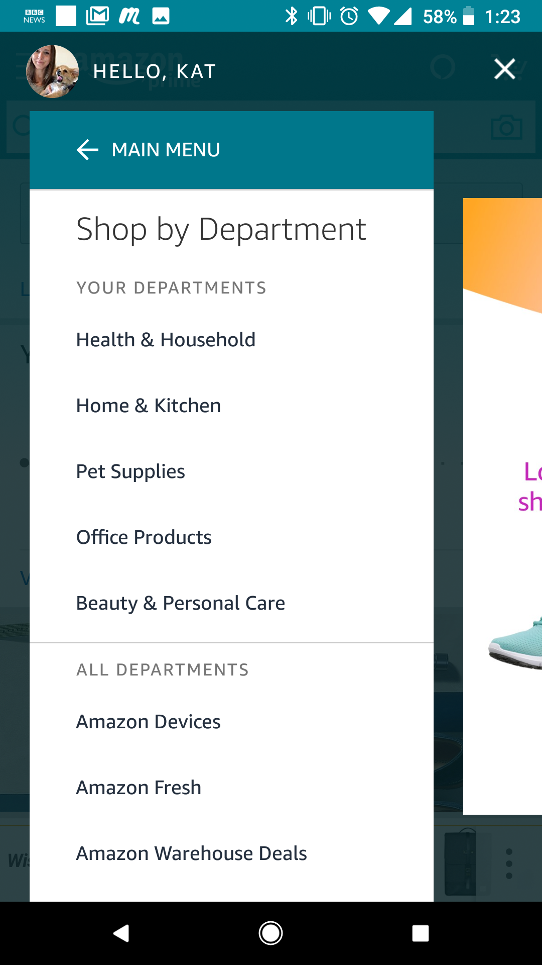 Shop By Department list is easier to read on mobile than it is on web. The  departments in which I shop most frequently appear at the top f688a1a85