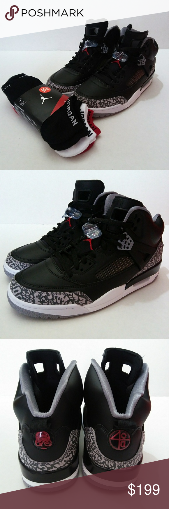 brand new e0499 c2b4e Jordan Spizike Elephant Print Cement Red New Mens Jordan Spizike Sz 10.5  100% Authentic Comes With Box No Box Top Black Varsity Red-Cement Grey  Comes With 3 ...