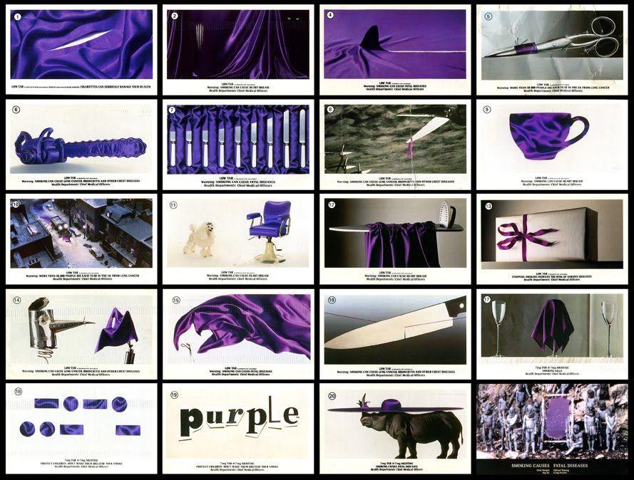 Full cigarette card collection featuring UK 48 sheet posters for Silk Cut; Agency: Saatchi & Saatchi; 1. Paul Arden; 3. Alexandra Taylor; 14. Gideon Todes; 16. Colin Jones & Neil Pravitt; 8. Graham Fink; 21. Paul Arden