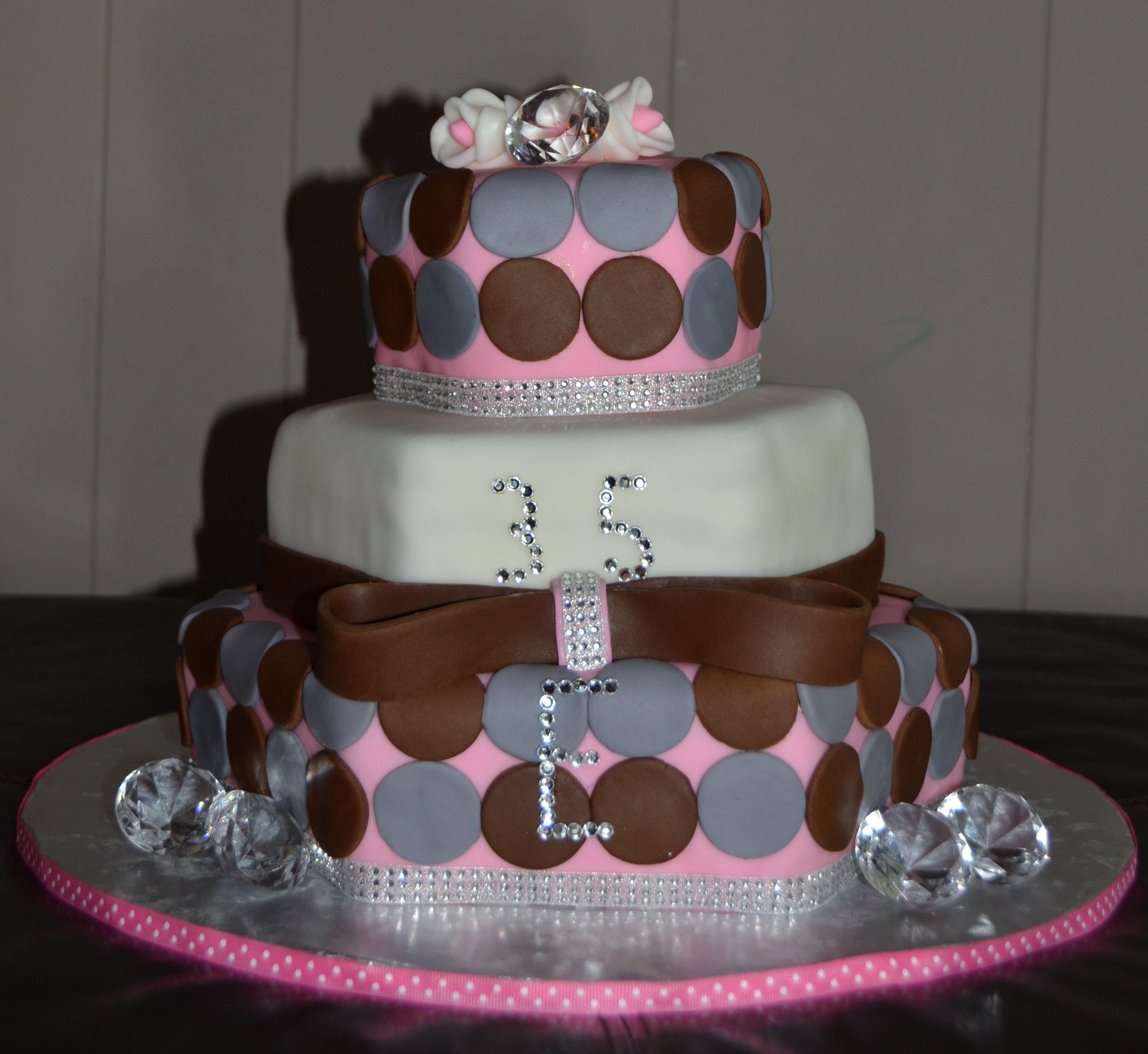 Th Birthday Cake With Diamond Accents Designs CAKES - 35th birthday cake ideas