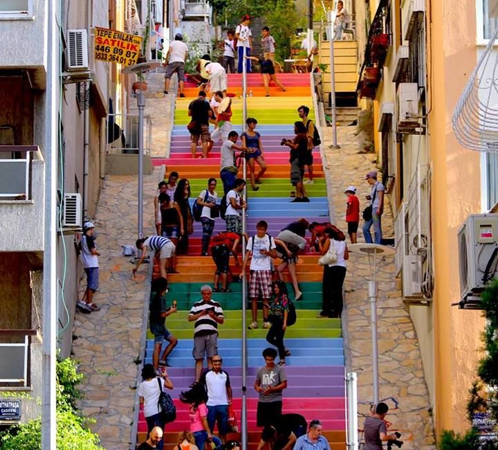 """Rainbow revolt in Turkey! """"Last week a 64 year old retired man painted stairs with rainbow colors on a street in a neighborhood in Istanbul. It immediately became very popular. However the local municipality re-painted the stairs with dull grey (for reasons unknown) Suddenly the social media exploded and there were dozens of self-organized """"stair-painting"""" events in Turkey! Now photos of streets and stairs with rainbow colors are flooding social media."""" ~ Filiz Telek, Istanbul, Turkey"""