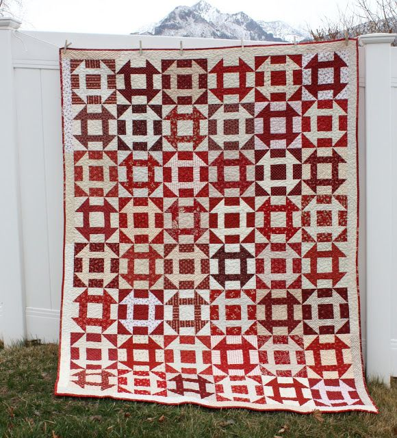 Diary of a Quilter - a quilt blog: Red and White Churn Dash Quilt