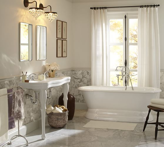 Marvelous Parisian Pedestal Double Sink Console | Pottery Barn