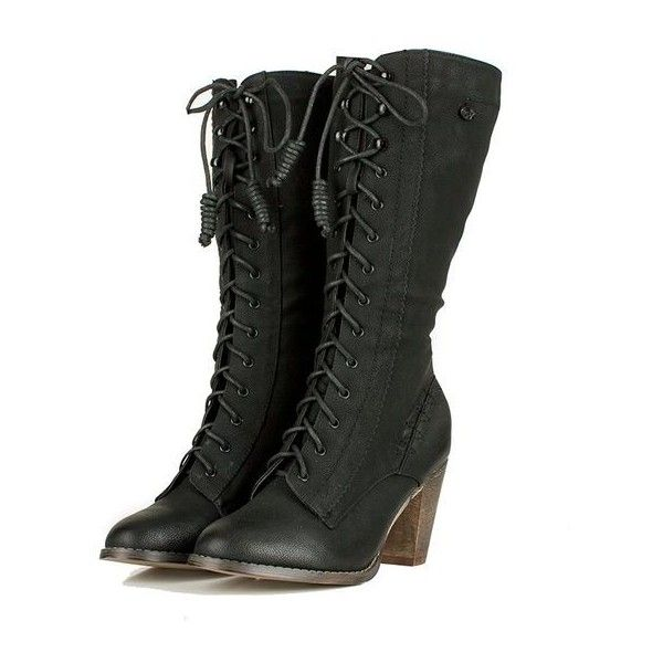 Black Semi Round Toe Lace Up Boots