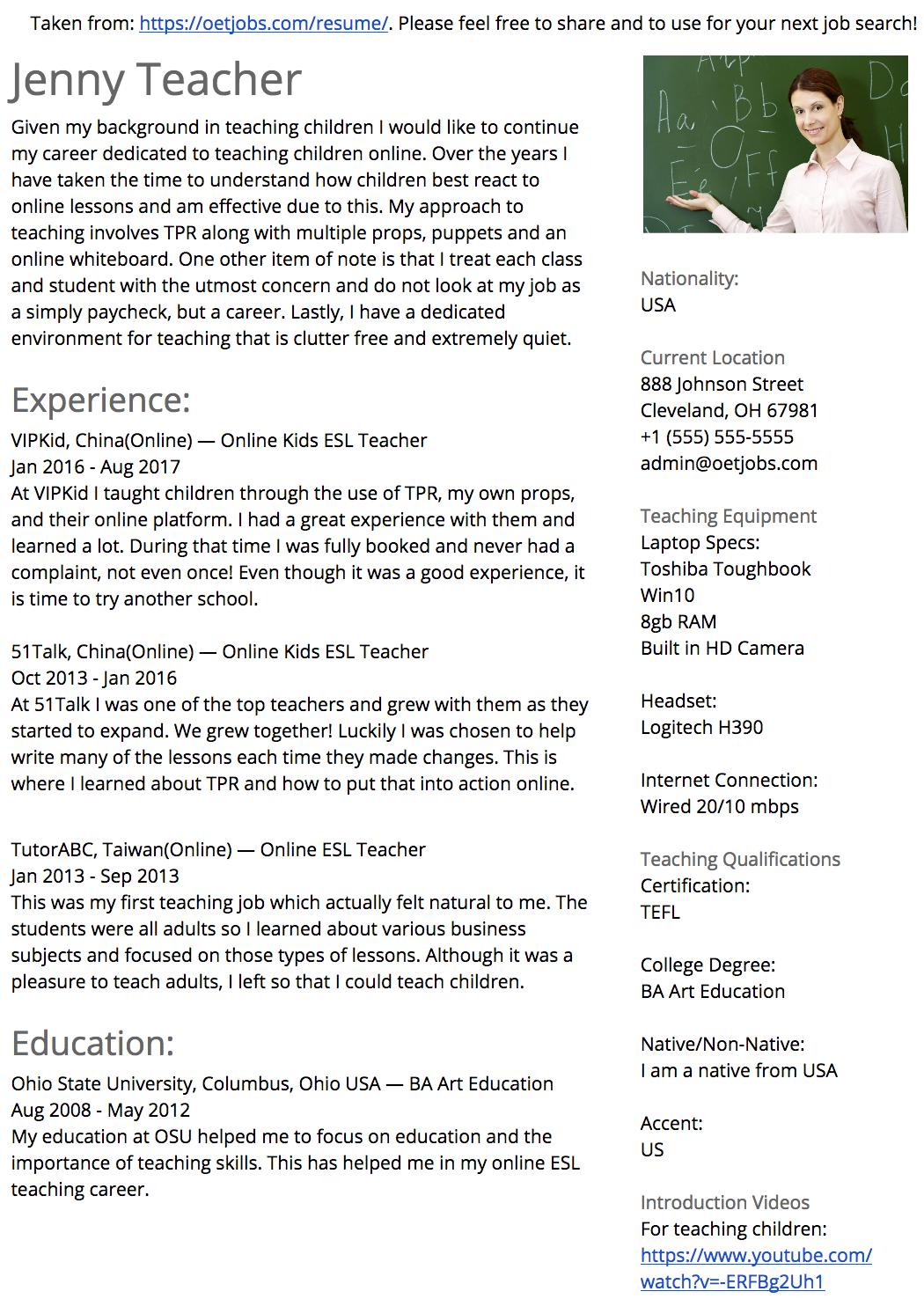 Online ESL Teacher Resume Jobs for teachers, Esl