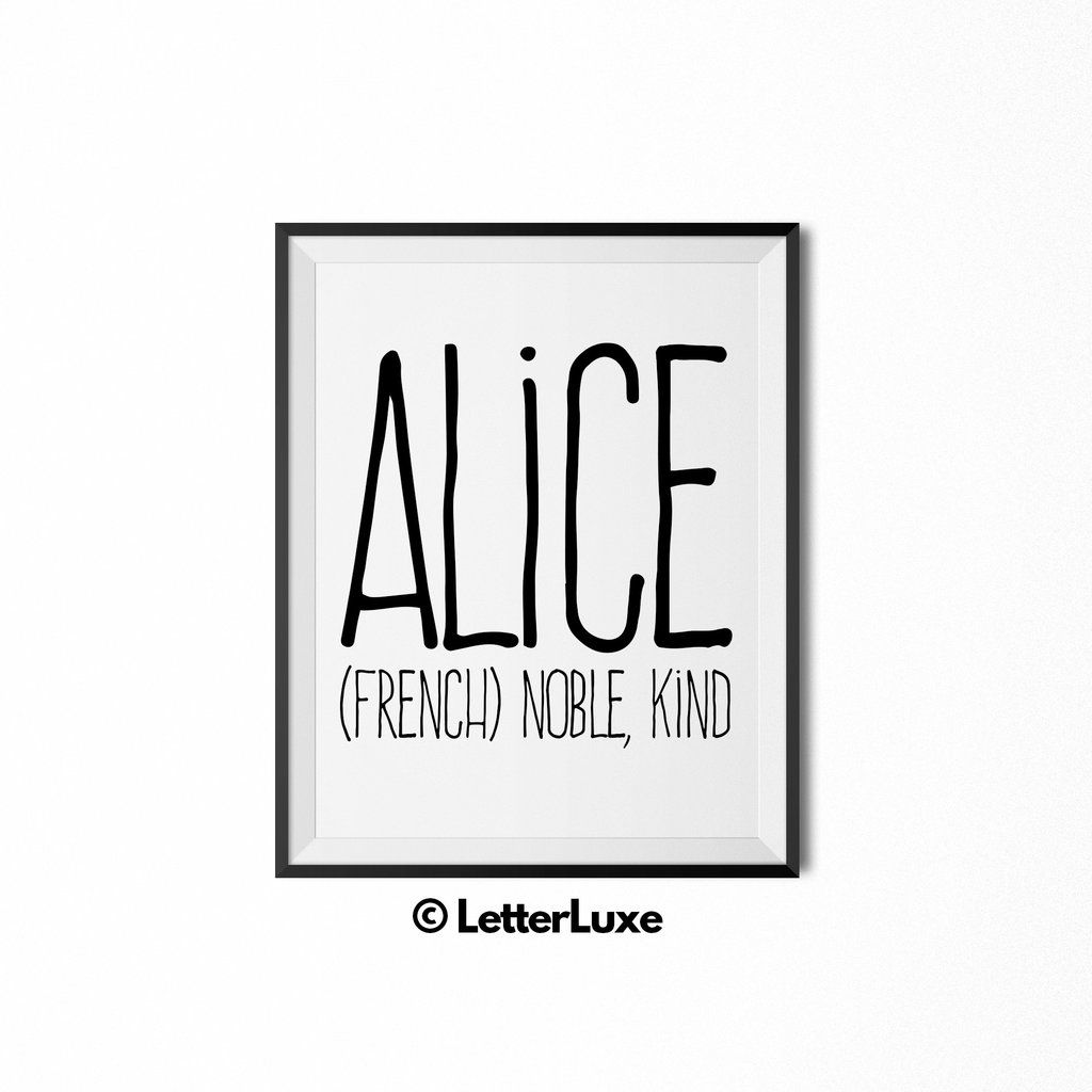 Alice name meaning art printable baby shower gift personalised alice name meaning art printable baby shower gift negle Gallery