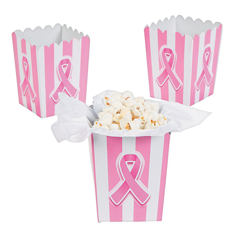 Mini Breast Cancer Awareness Popcorn Boxes  Pink ribbons Popcorn