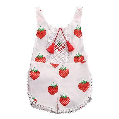Sweet Strawberry Summer Romper