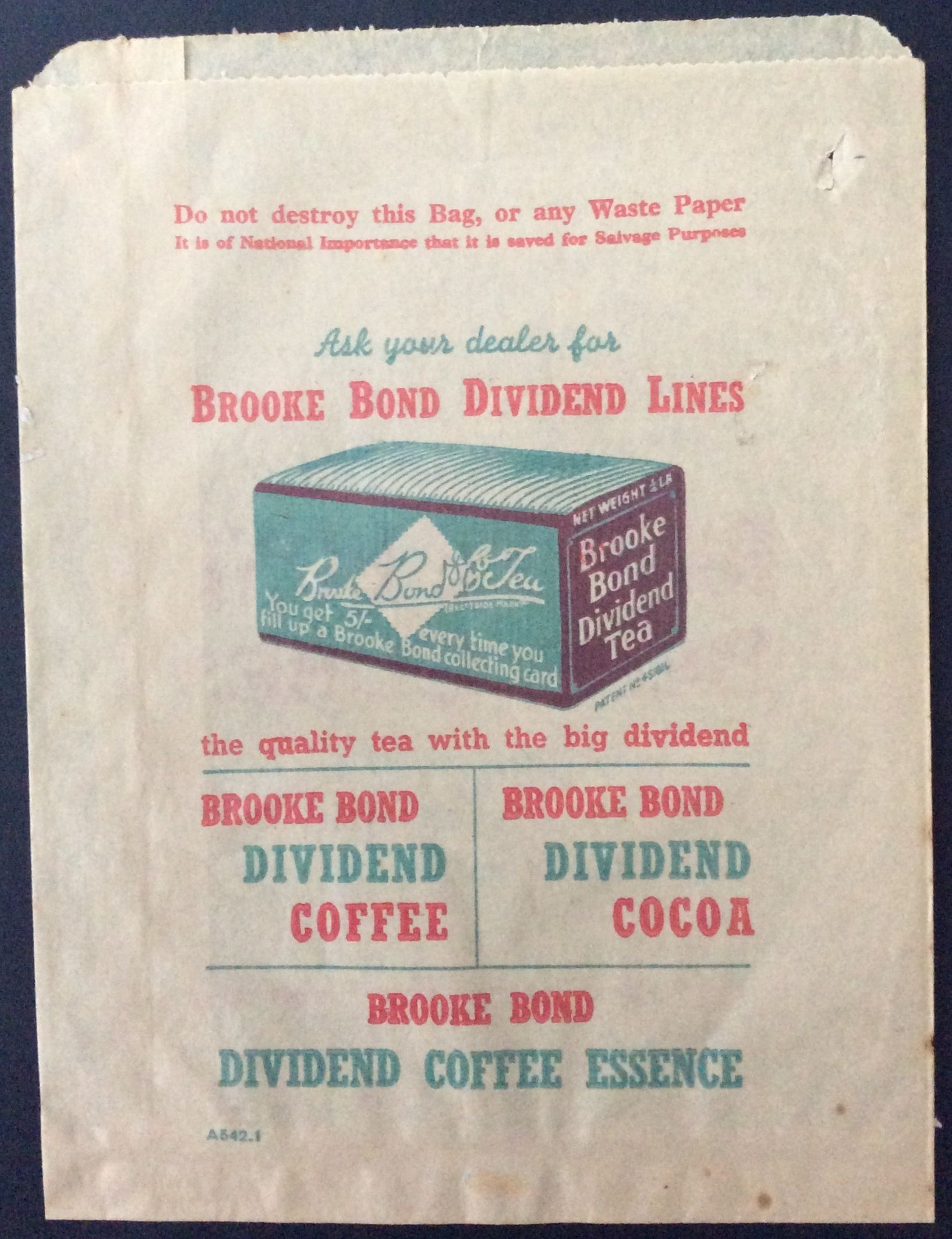 1939-56 Brooke Bond Dividend frontside printed paper bag