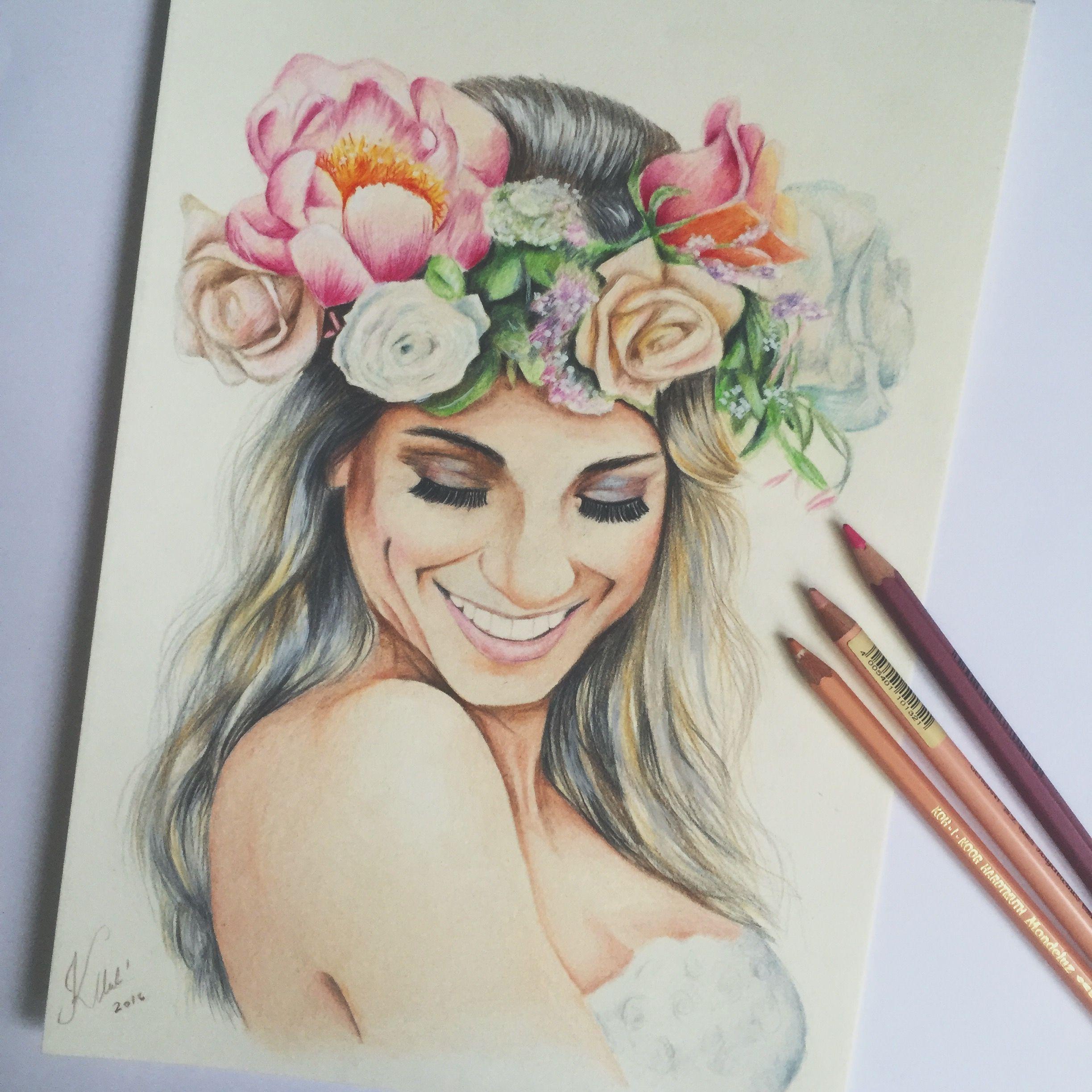 Wedding Hairstyles Drawing: Flower Woman Flowerwrap Colored Pencils Drawing Romantic
