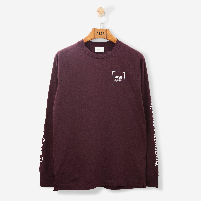 Wood Wood Han LS T Shirt Burgundy   New Drops   Shirts, T