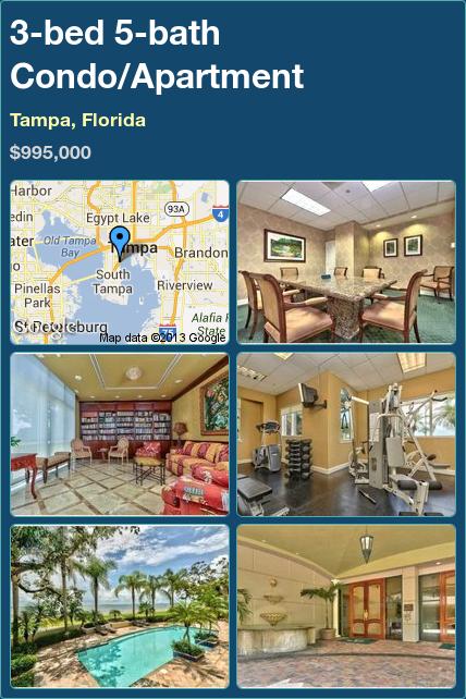 3-bed 5-bath Condo/Apartment in Tampa, Florida ►$995,000 #PropertyForSale #RealEstate #Florida http://florida-magic.com/properties/3433-condo-apartment-for-sale-in-tampa-florida-with-3-bedroom-5-bathroom