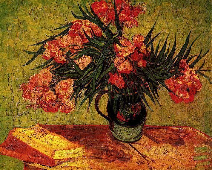 Still Life Vase With Oleanders And Books Van Gogh Vincent Van Gogh Art Van Gogh Paintings Van Gogh Art