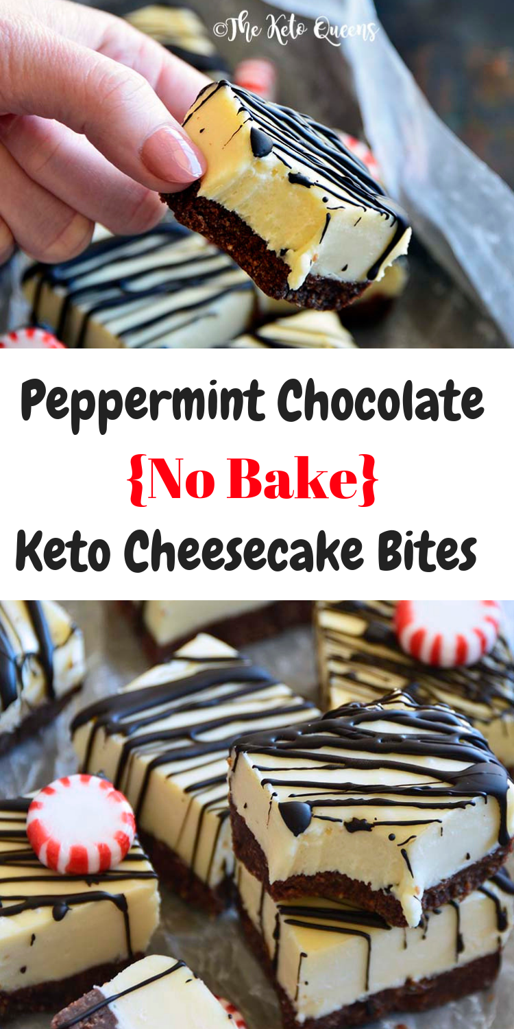 Peppermint Chocolate No Bake Keto Cheesecake Bites