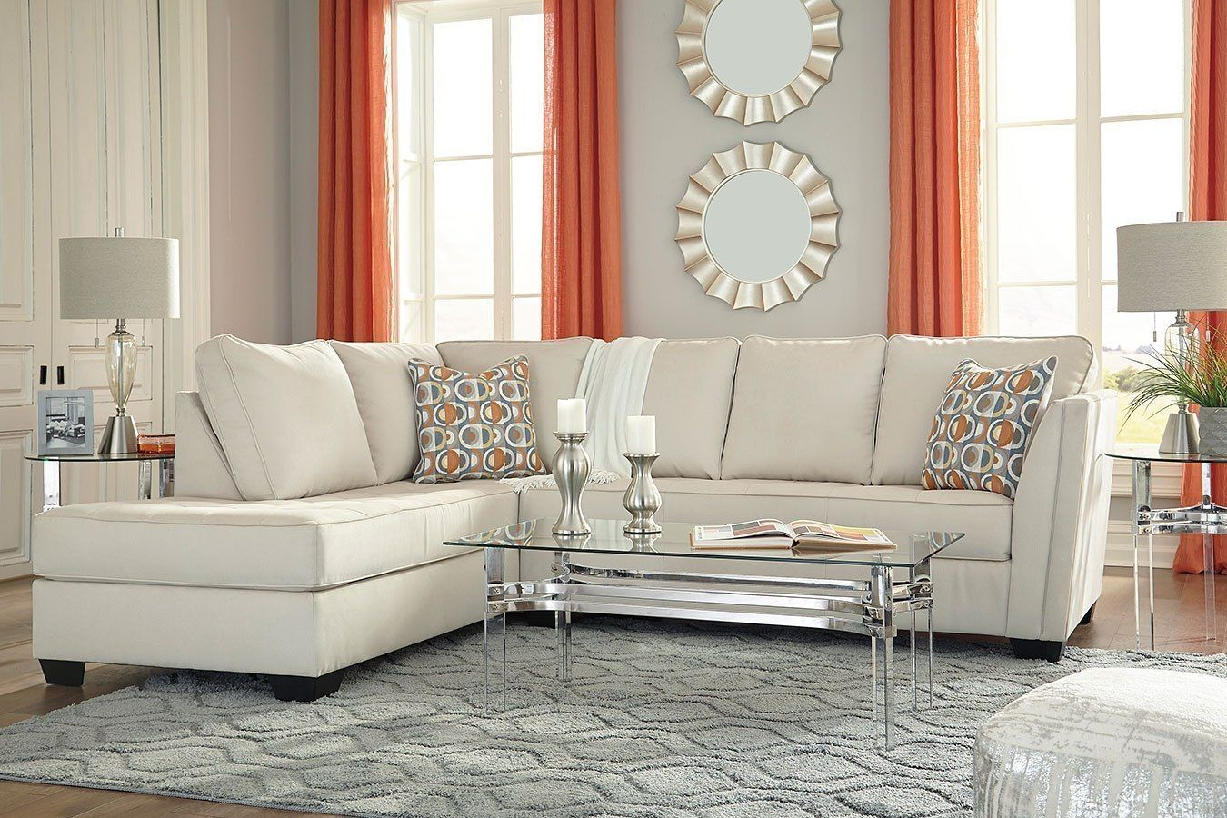 The Filone Living Room Collection By Signature Design Features Contemporary Style A Value City Furniture Sectional Sofa With Chaise Contemporary Sectional Sofa