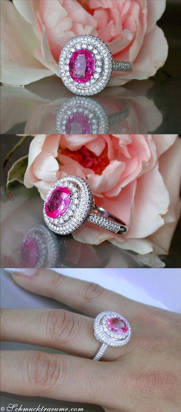 Noble: Pink Sapphire Diamond Ring, 3,08 cts. WG-18K -- Find out: schmucktraeume.com - Visit us on FB: https://www.facebook.com/pages/Noble-Juwelen/150871984924926?ref=hl - Contact: info@schmucktraeume.com