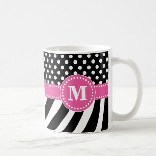 Black & White Zebra Stripes & Polka Dots with Pink Coffee Mug