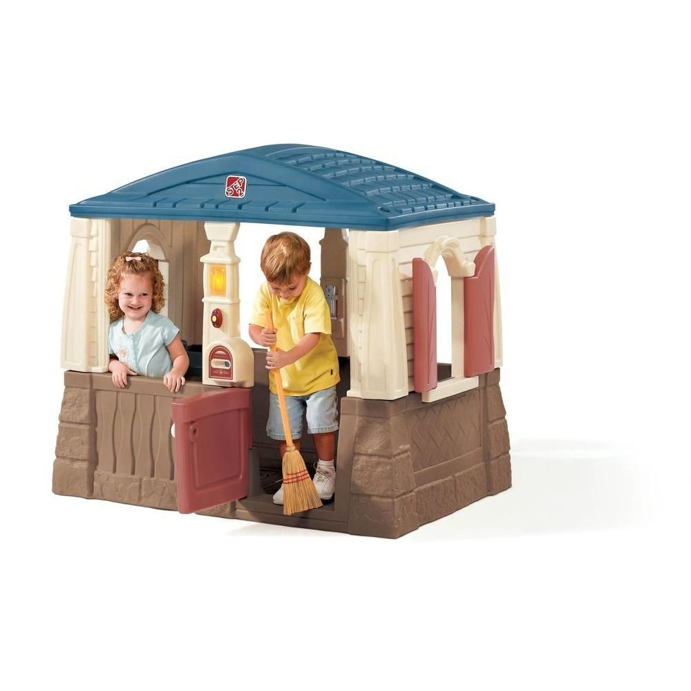 Year-round playhouse with molded-in floor keeps kids out of the dirt and dirt out of the house. Includes working Dutch door and shutters,  interactive electronic phone and pass-through mail box. Inside your little ones will love the molded-in kitchen table with pretend faucet, pretend burner and two seats.