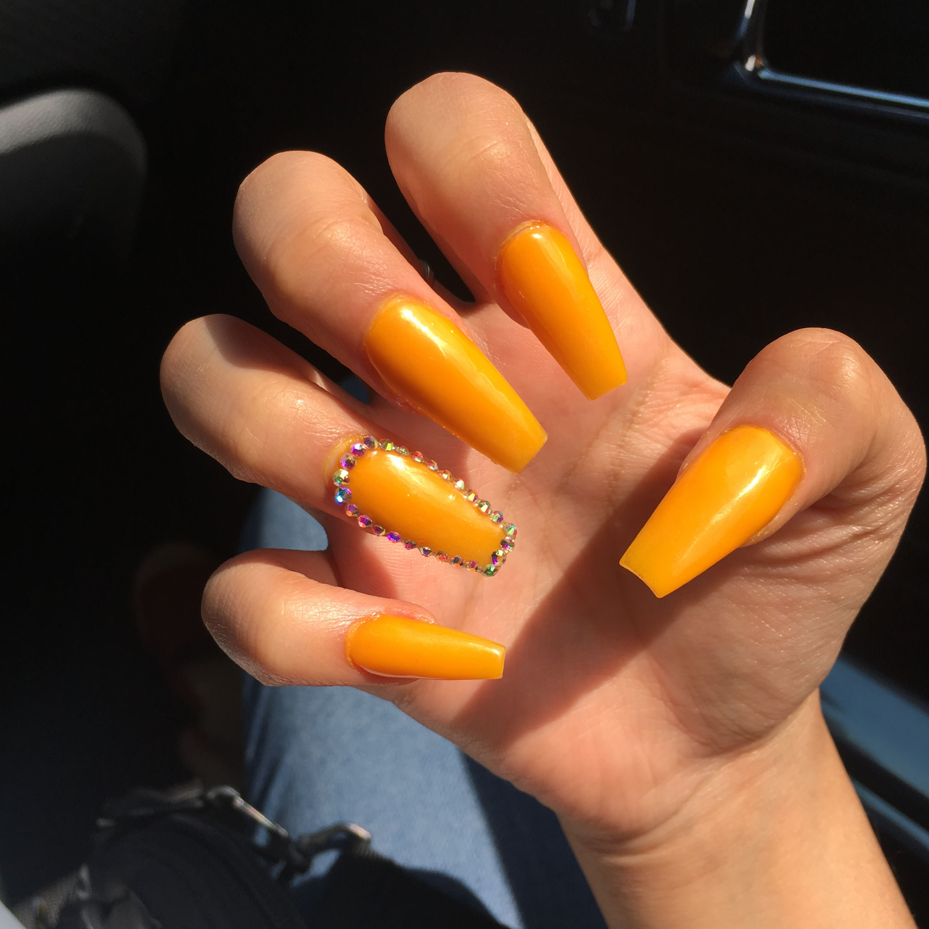 Yellow Orange Yellownails Orangenails Acrylic Yellowacrylic