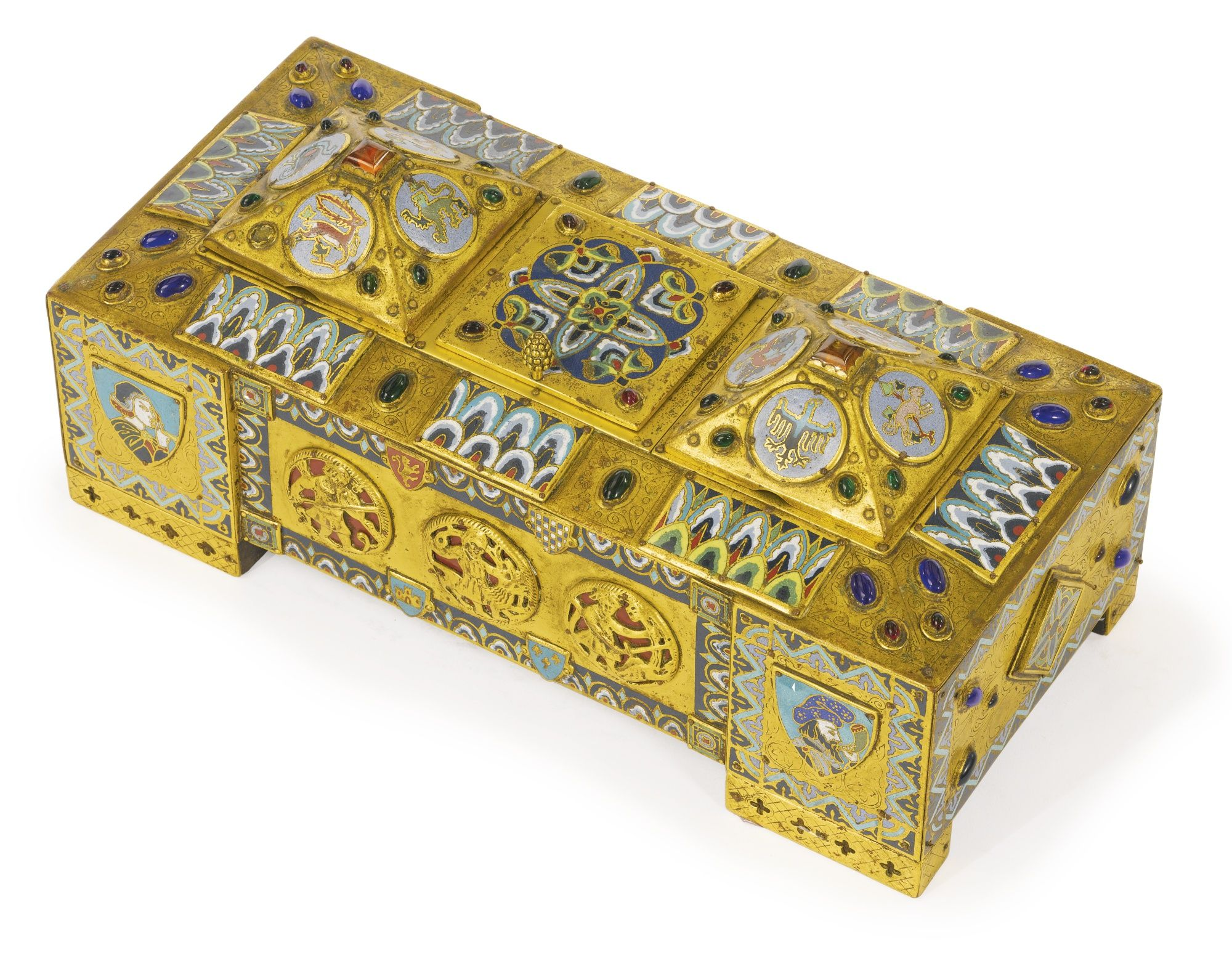 Edward F. Caldwell & Co 1851-1914 A gilt bronze, gilt metal, colored glass, champlevé and cloisonné enamel inkwell New York, early 20th century the lid of the mid section compartment engraved E. F. Caldwell & Co. Inc. New York height 5 in.; width 11 1/2 in.; depth 5 1/2 in. 13 cm; 29 1/2 in.; 14 cm