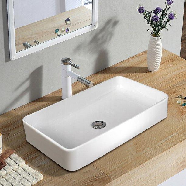Gymax 24 X 14 Rectangle Bathroom Ceramic Vessel Sink Vanity Art Basin W Pop Up Drain Walmart Com Vessel Sink Vanity Large Bathroom Sink Vessel Sink Bathroom