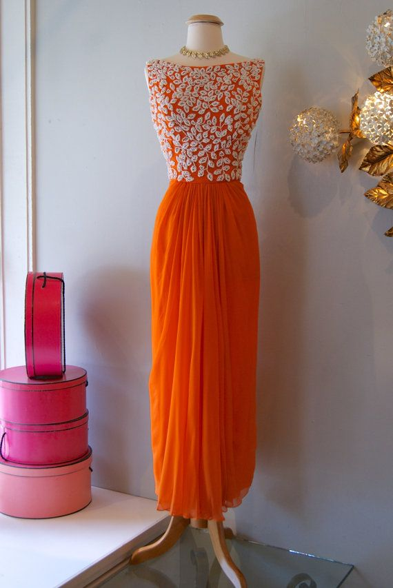 c60ae08ca1 Vintage 1960 s Dress    60 s Orange Cream Dream Gown by Pat Sanders for  Highlight on Etsy