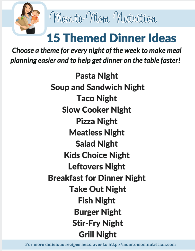 15 Themed Dinner Ideas My Favorite Way To Meal Plan Mom To Mom Nutrition Meal Planning Help Dinner Themes Meal Planning Menus