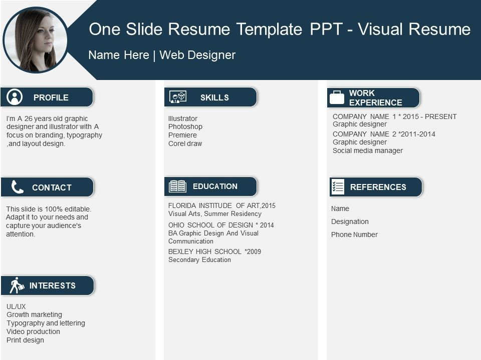 One Slide Resume Template Ppt Visual Resume Powerpoint Templates Designs Ppt Slide Examples Presentation Outl Visual Resume Ppt Slide Design Slide Design